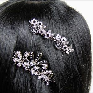 Accessories - Black and Silver Jeweled Hair Comb Set (Large)